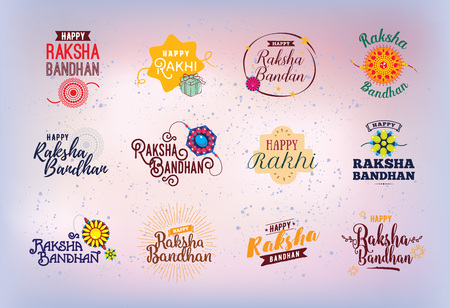 raksha: Happy Raksha Bandhan. Indian holiday. Vector typographic emblems,  badges. Usable for greeting cards, banners, print, t-shirts, posters and banners. Happy Rakhi. Illustration