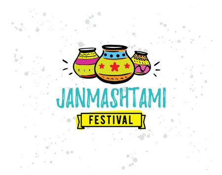 usable: Happy Janmashtami festival typographic vector design. Isolated. Usable as background, banner, greeting card, t-shirt, print. Indian holiday.
