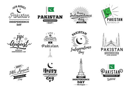 14th: Pakistan Independence day, 14th august. Vector typographic emblems. Usable for greeting cards, print, t-shirts, posters and banners. Illustration