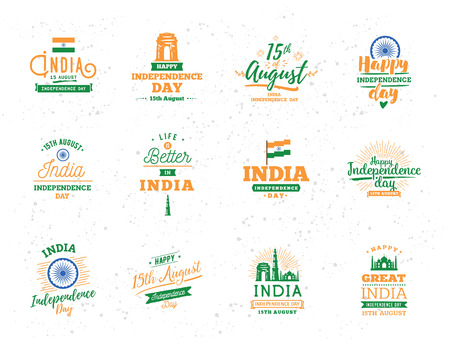 India Independence day, 15th august. Vector typographic emblems, badges. Usable for greeting cards, print, t-shirts, posters and banners.