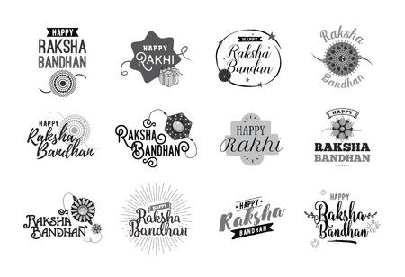 rakhi: Happy Raksha Bandhan. Indian holiday. Vector typographic emblems,  badges. Usable for greeting cards, banners, print, t-shirts, posters and banners. Happy Rakhi. Illustration