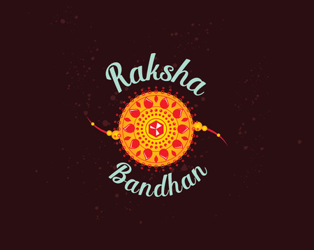 Happy Raksha Bandhan. Indian holiday. Vector background. Typographic emblem, badge. Usable for greeting cards, banners, print, t-shirts, posters and banners. Happy Rakhi Vector Illustration