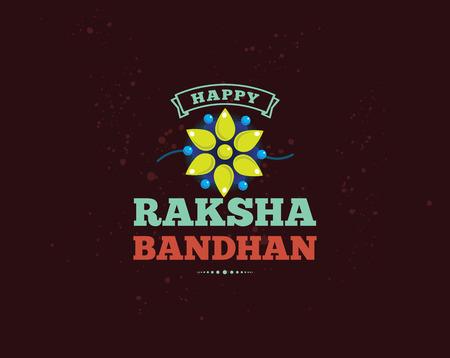 raksha: Happy Raksha Bandhan. Indian holiday. Vector background. Typographic emblem, logo or badge. Usable for greeting cards, banners, print, t-shirts, posters and banners. Happy Rakhi