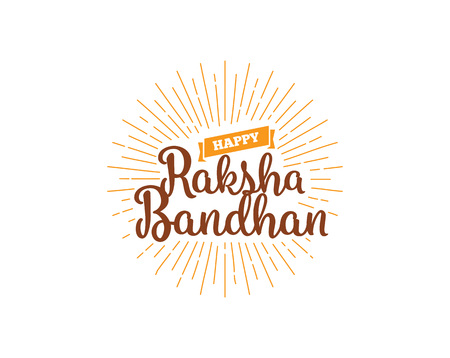 indian family: Happy Raksha Bandhan. Indian holiday. Vector background. Typographic emblem,  badge. Usable for greeting cards, banners, print, t-shirts, posters and banners. Happy Rakhi Illustration