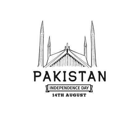 Pakistan Independence day, 14th august. Vector typographic background, emblem,  badge. Usable for greeting cards, print, t-shirts, posters and banners. Stock Illustratie