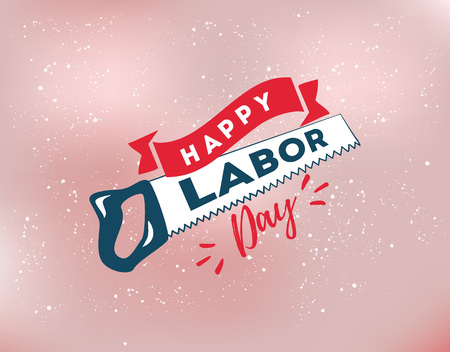 usable: Happy labor day emblem. Isolated vector elements. Calligraphy, lettering design. Badges usable for greeting cards, posters, banners.