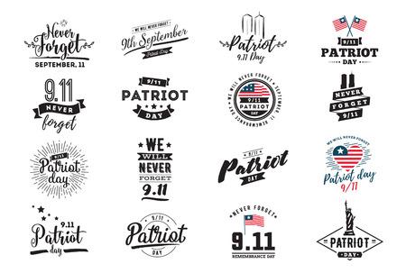 Patriot day typographic emblems set. Illustration