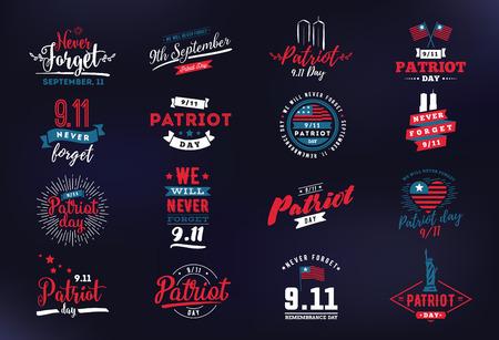 Patriot day typographic emblems set. Stock Illustratie