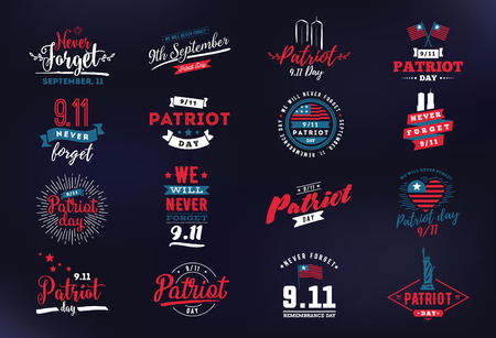 Patriot day typographic emblems set. Illustration