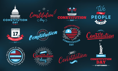 USA constitution day emblems set. 17 september. Isolated vector elements. calligraphy design. Usable for greeting cards, posters, banners.