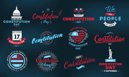 USA emblemas Día de la Constitución establecen. 17 de septiembre. Elementos aislados del vector. diseño de la caligrafía. Utilizable para tarjetas de felicitación, carteles, pancartas.