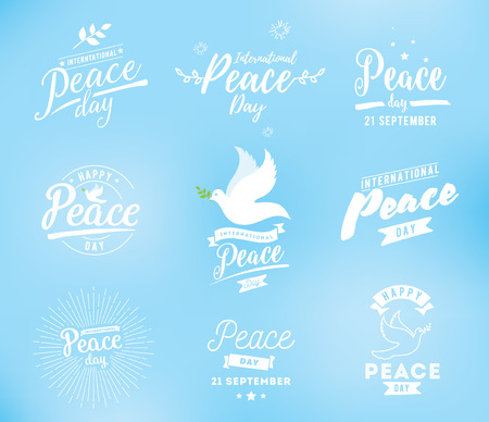 International peace day typography. Greeting card for 21 september. Vector design. Dove with branch in the sky.