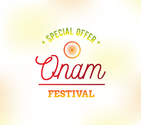 kerala: Happy Onam background. Traditional festival in Kerala, South India. Vector illustration with typography. Usable as greeting card, poster, sale banner. Illustration