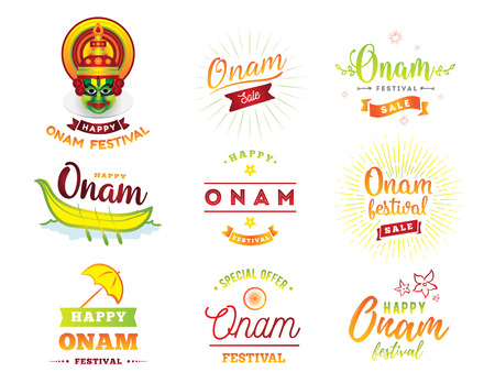 Happy Onam background. Traditional festival in Kerala, South India. Vector illustration with typography. Usable as greeting card, poster, sale banner. Stock Illustratie