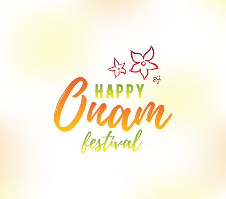 south india: Happy Onam background. Traditional festival in Kerala, South India. Vector illustration with typography. Usable as greeting card, poster, sale banner. Illustration