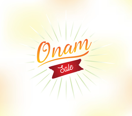 religious event: Happy Onam background. Traditional festival in Kerala, South India. Vector illustration with typography. Usable as greeting card, poster, sale banner. Illustration