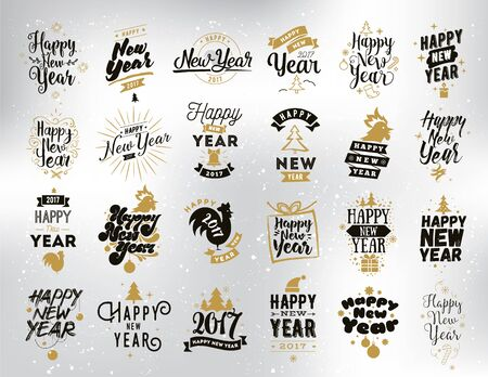 happy new years: Happy New Year 2017 typographic emblems set. Vector, text design. Black, white and gold. Usable for banners, greeting cards, gifts etc.