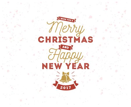 text year: Merry Christmas and Happy New Year text design. Illustration