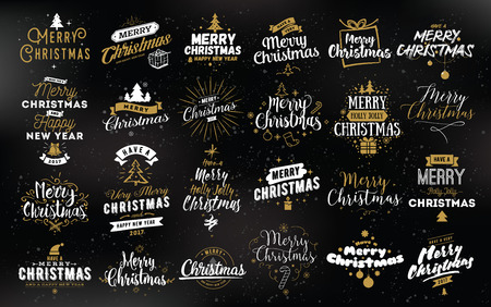 Merry Christmas and Happy New Year 2017 typographic emblems set.
