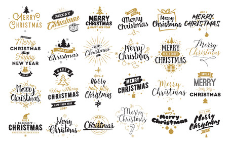 Merry Christmas and Happy New Year 2017 typographic emblems set. Illustration