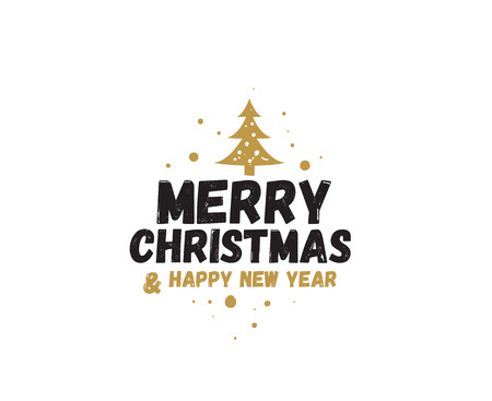 Merry Christmas and Happy New Year text design. Stock Illustratie