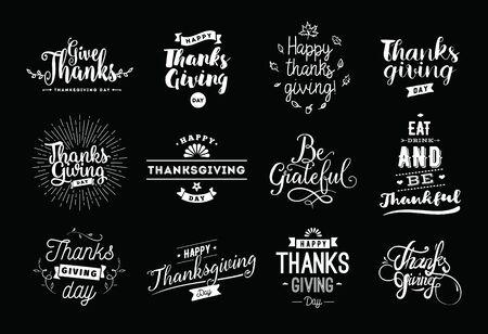 Thanksgiving day typography set.