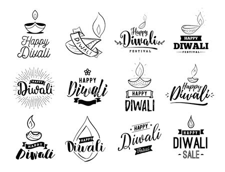 Happy Diwali typography set. Typographic emblems with lamps. Illustration