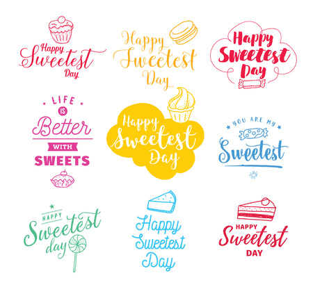 sweetest: Happy sweetest day typography set. Vector design with hand drawn sweets. Usable for greeting cards, backgrounds, posters.