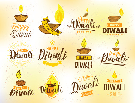 dipawali: Happy Diwali typography set. Typographic emblems with lamps. Vector, text design. Usable for banners, greeting cards, posters, gifts etc Illustration