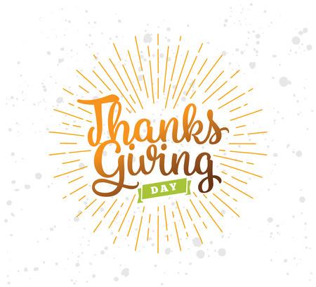 caes: Acción de Gracias día fondo tipográfico. El diseño del texto. Utilizable para banners, tarjetas de felicitación, carteles, etc.