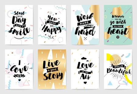 Set di carte o poster con tipografia. Utilizzabile come flyer, banner o cartolina. Disegno vettoriale scritta. Scrapbooking o carte di journaling con citazioni.