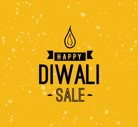 Happy Diwali background. Typographic emblem with lamp. Vector text design. Usable for banners, greeting cards, posters, gifts etc Illustration