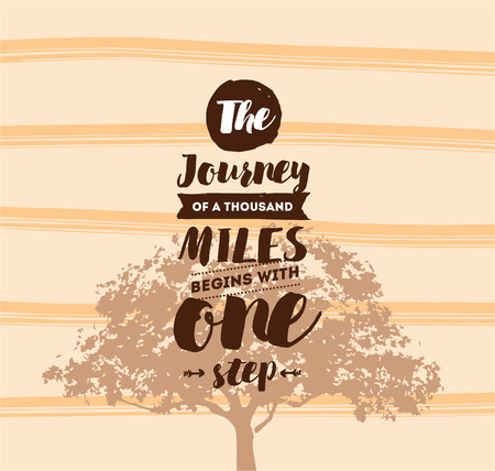 The journey of a thousand miles begins with one step. Inspirational quote, motivation. Typography for poster, invitation, greeting card or t-shirt. Vector lettering design. Text background Illustration