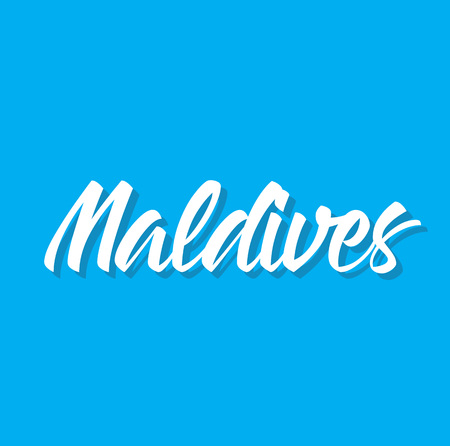 maldives, text design. Vector calligraphy. Typography poster. Usable as background. Illustration