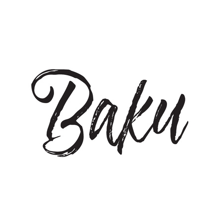 baku, text design. Vector calligraphy. Typography poster. Usable as background.