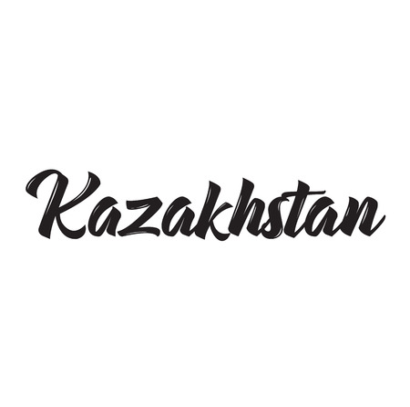 kazakhstan, text design. Vector calligraphy. Typography poster. Usable as background. Ilustrace