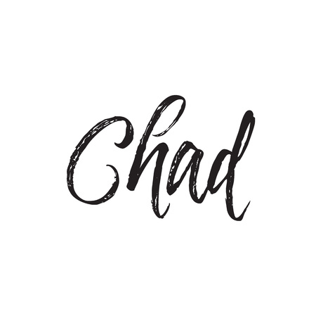 chad, text design. Vector calligraphy. Typography poster. Usable as background. Illustration