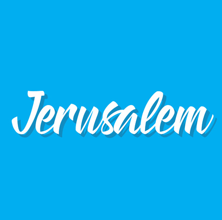 jerusalem, text design. Vector calligraphy. Typography poster. Usable as background.