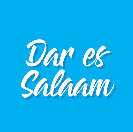 dar es salaam, text design. Vector calligraphy. Typography poster. Usable as background.
