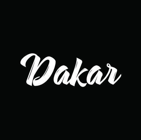 dakar: dakar, text design. Vector calligraphy. Typography poster. Usable as background. Illustration