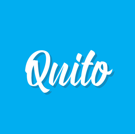 quito, text design. Vector calligraphy. Typography poster. Usable as background.