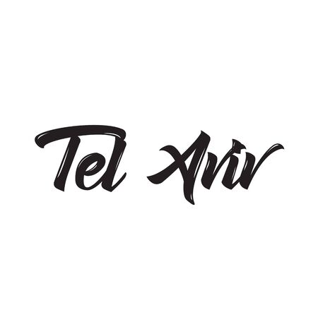aviv: tel aviv, text design. Vector calligraphy. Typography poster. Usable as background.