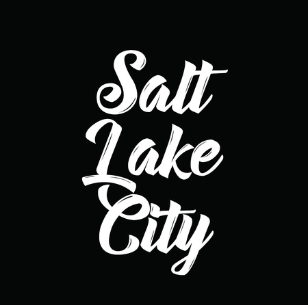 salt lake city, text design. Vector calligraphy. Typography poster. Usable as background.