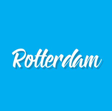 Rotterdam, tekstontwerp. Vector kalligrafie. Typografie poster. Kan als achtergrond worden gebruikt.