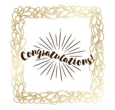Congratulations inscription. Typography for poster, invitation, greeting card or t-shirt. Vector lettering, calligraphy design. Text background