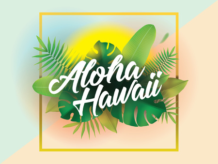 Aloha. Vector achtergrond voor posters en banners. Stock Illustratie