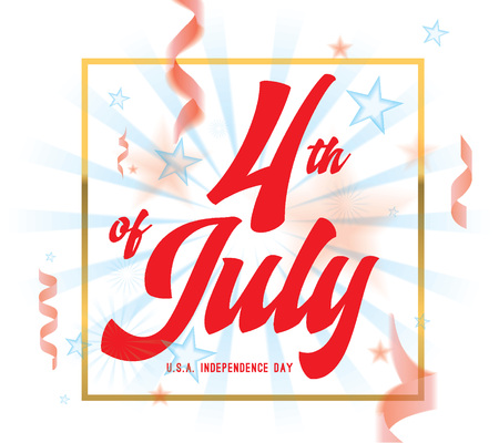 united stated: 4th of July, United Stated independence day greeting. Fourth of July typographic design.