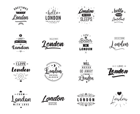 London. Greeting cards, vector design. Isolated logos. Typography set. Stock Illustratie