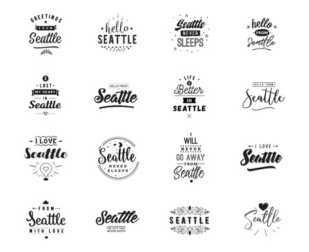 Seattle. Greeting cards, vector design. Isolated logos. Typography set. Stock Illustratie