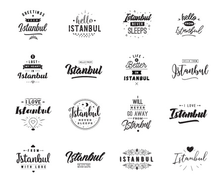 Istanbul. Greeting cards, vector design. Isolated logos. Typography set. Illustration